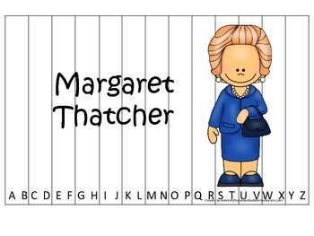 Women History Margaret Thatcher themed Alphabet Sequence Puzzle.  Preschool game