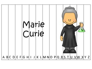 Women History Marie Curie themed Alphabet Sequence Puzzle.  Preschool game.