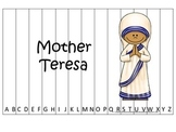 Women History Mother Teresa themed Alphabet Sequence Puzzle.  Preschool game.