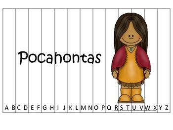 Women History Pocahontas themed Alphabet Sequence Puzzle.  Preschool game.