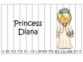 Women History Princess Diana themed Alphabet Sequence Puzzle.  Preschool game.