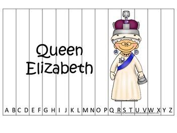 Women History Queen Elizabeth themed Alphabet Sequence Puzzle.  Preschool game.
