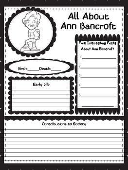 Women In History and Our World Graphic Organizers 42 Women (Black and White)
