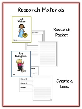 Women Inventors Research Project - 17 People Vocab Cards, Packet, Book & More