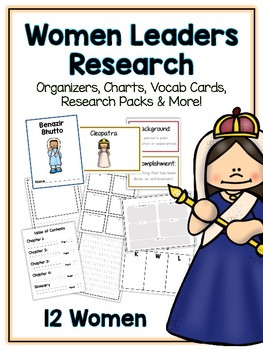 Women Leaders Research Project -12 People Vocab Cards, Packet, Book & More