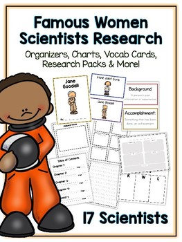Women Scientists Research Project -17 People Vocab Cards, Packet, Book & More