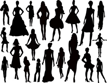 Women Silhouette Clip Art Lady Fashion Model Silhouette Clip Art