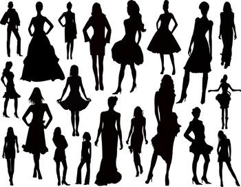 Women Silhouette Clip Art Lady Fashion Model Silhouette Clip Art