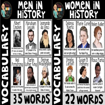 Women and Men in History Vocabulary Word Posters