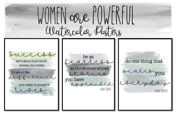 Women are Powerful Watercolor Posters