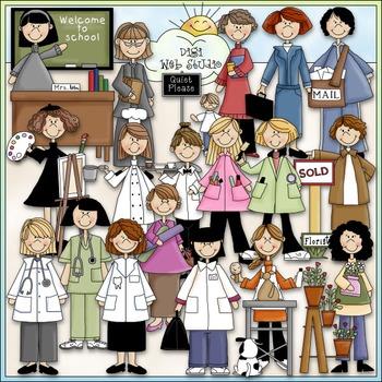 Women at Work Clip Art - Jobs Clip Art - Occupation - Career - CU Clip Art & B&W