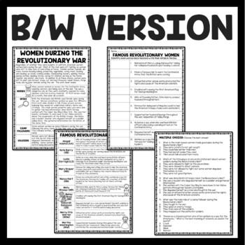 Women during the Revolutionary War Reading Comprehension; American Revolution
