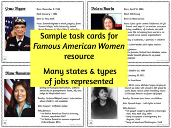 Women in America & Around the World BUNDLE: Biography Task Cards with Activities