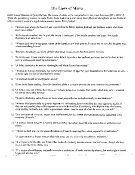 Women in Ancient India (The Laws of Manu) reading and guiding questions