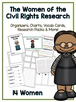 Women in Civil Rights Research Project -14 People Vocab Cards Packet Book & More