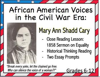 Women in Civil War:  Close Reading of Mary Ann Shadd Cary