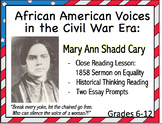 Women in Civil War:  Close Reading of Mary Ann Shadd Cary 1858 Speech