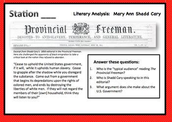Women in Civil War Era:  Station Rotations- Abolitionist Mary Ann Shadd Cary