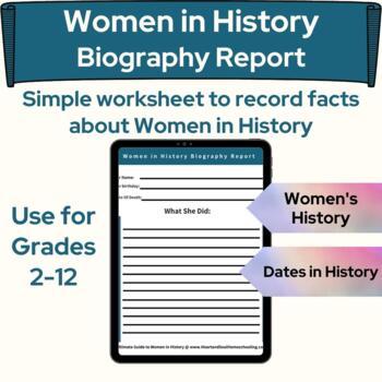 Women in History Biography Report Sheet