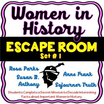 Women in History ESCAPE ROOM! Set #1 - Rosa Parks, Anne Frank and more