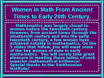 Math Lab:  Famous Women  in Mathematics