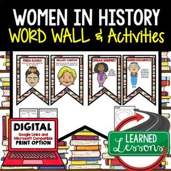 Women's History Word Wall Pennants & Women's History Activities Google Digital