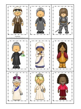 Women in History themed Memory Matching Cards.  Preschool learning game.