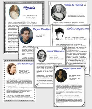 Great Women in Mathematics Posters and Interactive Notebook Pages
