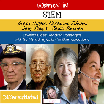 Women in STEM: Leveled Close Reading Passages Bundle with Digital Quizzes + More