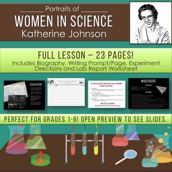 Women in STEM Science Lesson PowerPoint Experiment Lab Report Writing Prompt