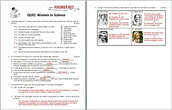 Women in Science - Quiz {Editable}