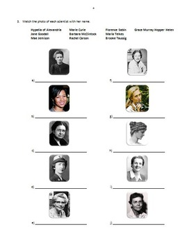 Women in Science - Review Worksheets {Editable}