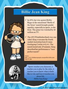 Women in Sports Biography Poster -Billy Jean King