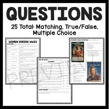 Women in World War II article, matching, and true false