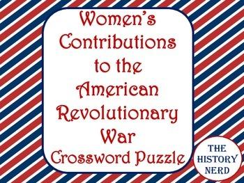 Women in the American Revolution Crossword Puzzle -FREE