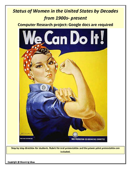 Women of the U.S. by decades: Research Project (step by step instruction)