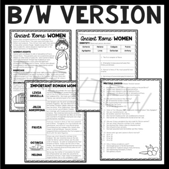 Women of Ancient Rome Reading Comprehension Worksheet; Roman Empire