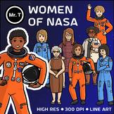 Women of NASA Clip Art (Mae Jemison, Sally Ride, ...) - Color and Line Art
