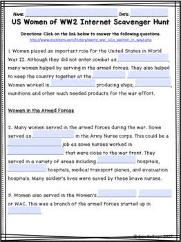 Women of World War II Internet Scavenger Hunt WebQuest Activity
