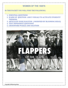 women of the roaring 20s flappers close reading lesson by