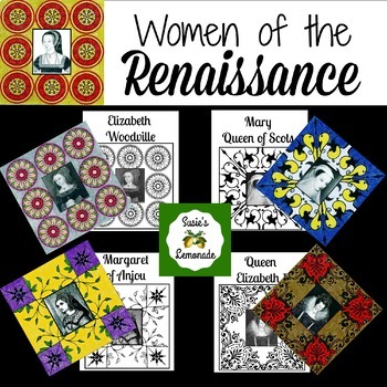 Women of the Renaissance Coloring Pages, Stained Glass Inspired