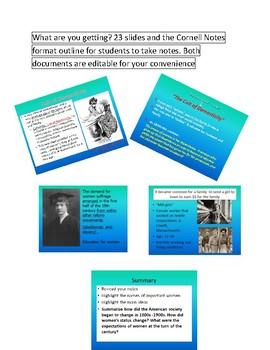 Women of the US(late 1800s-beginning of the 1900s) Lecture/Cornell Notes