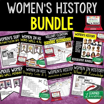 Women's History BUNDLE of Activities, Word Wall, Puzzles, Choice Boards