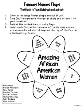 African American Women, Interactive Notebook, Black History Month, Lapbook