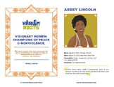 Women's History Biography Sheets - Champions of Peace & Nonviolence
