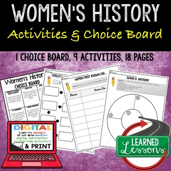 Women's History Choice Board with 9 Activities (Paper and Google)