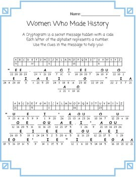 Women's History Cryptograms