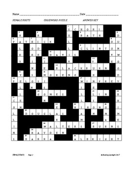 Women's History: Female Firsts Crossword Puzzle