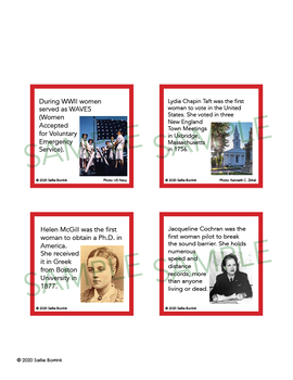 Women's History Month Unit Activity - Fun Fact Cards for Games, Bulletin Board