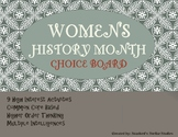 Women's History Month Choice Board Tic Tac Toe Activities